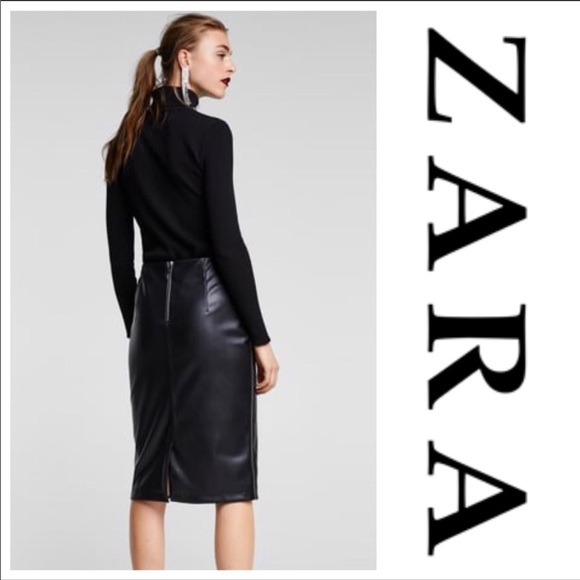4078600b1f Zara Skirts | Faux Leather Midi Skirt Slit Black M | Poshmark